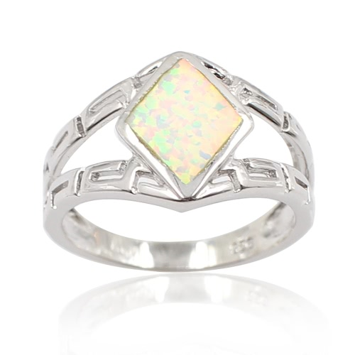 925 Sterling Silver Fashion Rhombus Simulated Opal Ring Women Girl Wedding Engagement Jewelry Accessory