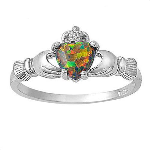 Nueva moda mujeres corona manos corazón simulado anillo 925 esterlina plata boda compromiso amor joyería del ópalo de