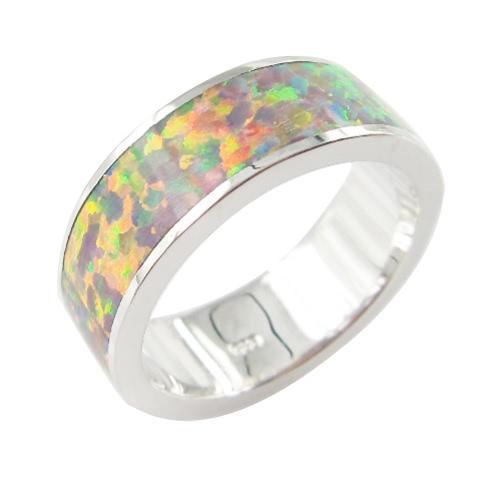 Moda clásica 6,5 mm apilable 925 plata simulado banda anillo mujer boda compromiso amor joyería del ópalo de