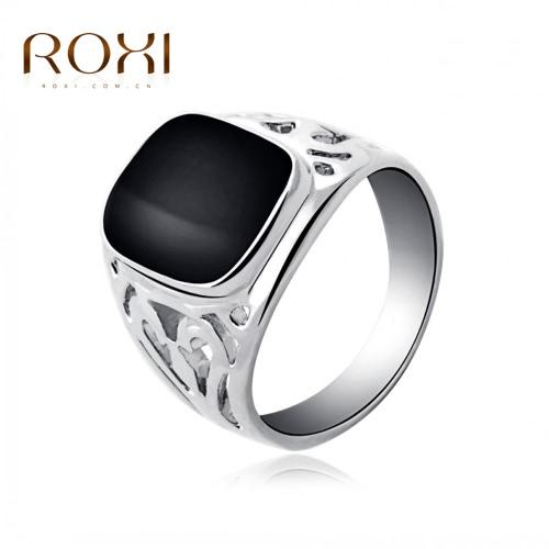 ROXI Fashion Enamel Geometric Square Hollow Ring Popular Europe Style Women Bride Wedding Engagement Jewelry Accessory