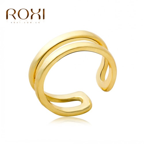 ROXI moda clásica oro plateado suave apertura anillo mujer novia compromiso joyas accesorio regalo de boda
