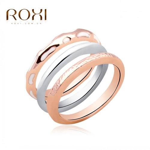 ROXI 3Pcs moda rosa/blanco plateado apilable suave anillo de oro mujer novia compromiso joyas accesorio regalo de boda
