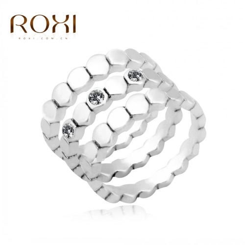 ROXI 3Pcs Fashion Silver Plated Austrian Crystal Stackable Band Ring Women Bride Wedding Engagement Jewelry Accessory