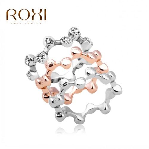 ROXI 3Pcs cristal austriaco apilable banda anillo mujer novia boda compromiso amor accesorio de la joyería de la manera