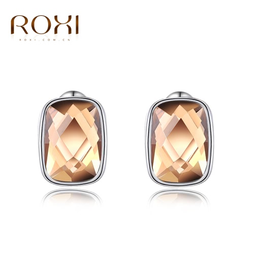 ROXI Fashion CZ Diamond Geometric Square Stud Earring White Gold Plated Wedding Party Jewelry for Women Girl