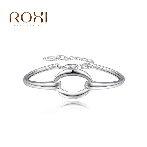 ROXI moda oro blanco plateado redondo círculo liso pulsera brazalete accesorio de la joyería para la mujer niña