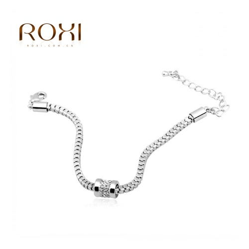 ROXI Women Girl Fashion White Gold Plated CZ Diamond Bead Bracelet Bangle Punk Style Jewelry Accessory