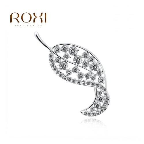 ROXI moda Rhinestone cristal hoja broche Pin joyería oro blanco electrochapado elegante brocha bufanda hebilla accesorios regalo de boda