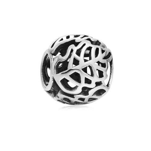 Romacci S925 plata hoja hueco encanto grano para cadena de la serpiente de 3mm DIY pulsera brazalete collar moda mujer joyas accesorio