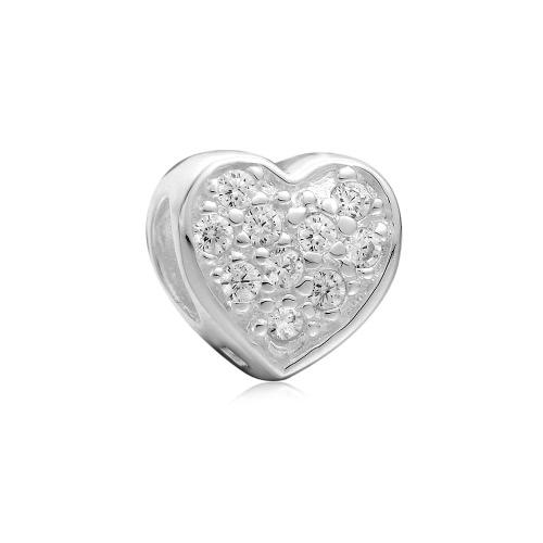 Romacci S925 plata amor corazón CZ diamante grano encanto para 3mm serpiente cadena pulsera brazalete collar mujer fina joyería DIY accesorio