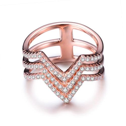 Proposta JURE 925 Silver Ring Zirconia casamento anel de noivado de substituição nupcial halo Rose Gold