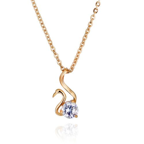 Frauen-Mädchen-Mode-Gold überzogene Rhinestone-Kristall Edel-Schwan-hängende Halsketteclavicle Ketten-Schmucksachen für Partei-Hochzeit Geschenk