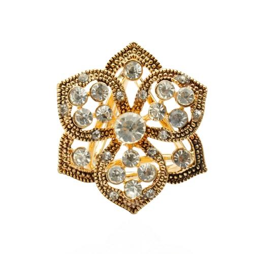 Fashion Zink Metallic Rhinestone-Kristall-Schal-Schal Schnalle Brosche Clip Ring Schmuck Accessoires für Frauen-Geschenk