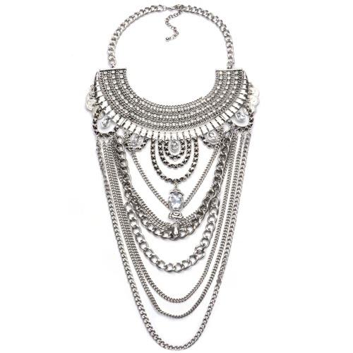 Bohemia Boho Gypsy Tribal Ethnic Vintage Retro Tassels Necklace Choker Bib Jewelry Chain for Women Girl Gift Party