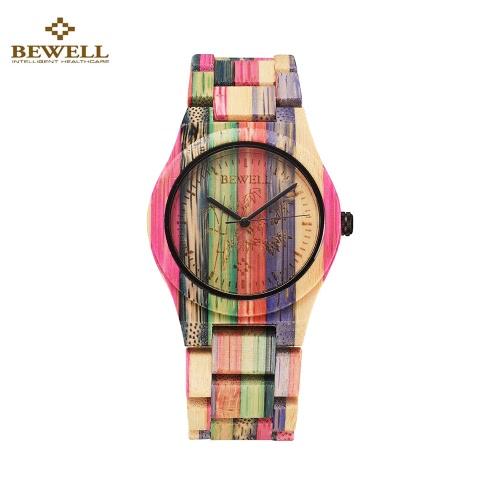 BEWELL relógio de bambu de madeira amigável hipoalergênico