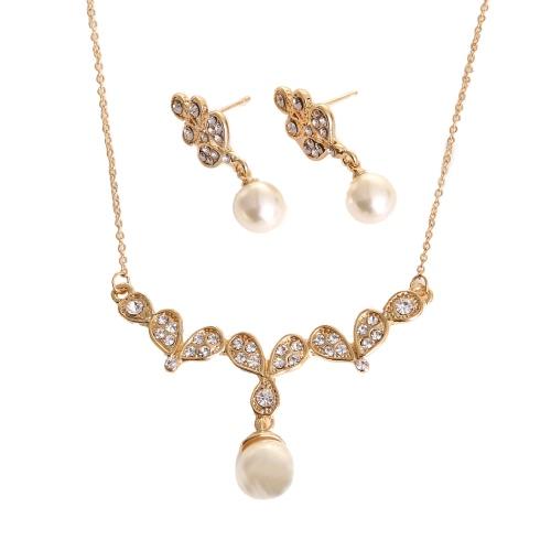 Modische Zink-Legierung Dazzling Strass Kristall simulierte Perle Anhänger Halskette mit 1 Paar Ohrringe Charm-Schmuck-Set für Frauen-Mädchen-Hochzeit Geschenk
