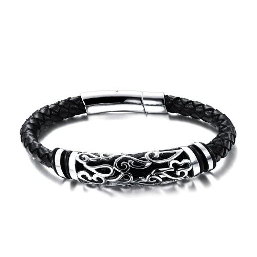 Image of Neue einzigartige Männer Männliche echtes Leder gesponnenes Armband Edelstahl-Charme-Seil-Armband-Armband Art und Weise Schmucksachen für Partei-Geschenk