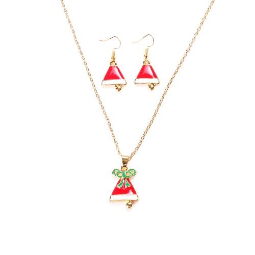 Encantador Natal moda metal de liga de zinco Colar Brincos Esmalte Conjunto de jóias para a mulher Meninas partido de feriado