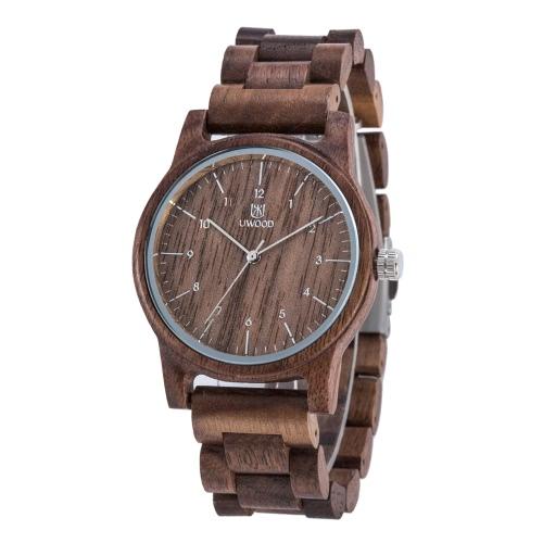 Marca de moda uWood estilo masculino del hombre analógicas de alta calidad de madera de madera del reloj del cuarzo del reloj del negocio