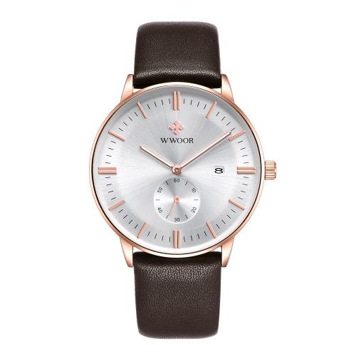 WWOOR Marca Moda Luminous Homem de couro genuíno relógios Calendário Quartz homem elegante Casual relógio de pulso à prova d'água + Caixa de armazenamento