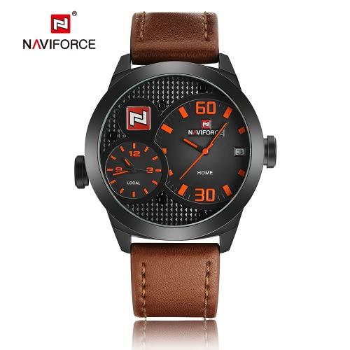 NAVIFORCE 2016 Marken-Art- und Dual Time Zone echtes Leder Quarz-Mann-Uhren 30M wasserdichte Militär Sport-Mann-beiläufige Armbanduhr Kalender + Watch