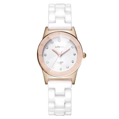 Longbo 3ATM resistente à água Man Woman analógico relógio de quartzo relógio de pulso de cerâmica de luxo na moda