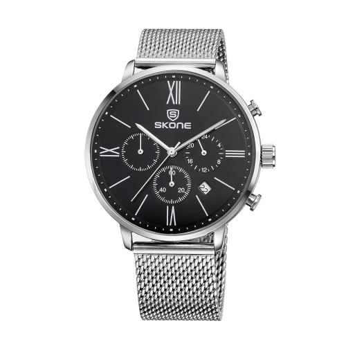 SKONE 2016 modo di marca di lusso completa Uomini d'acciaio casuale orologio da polso impermeabile Calendario Mans Affari Dress orologio W / sub-quadranti