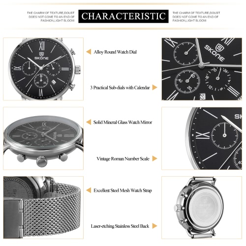 SKONE 2016 Brand Fashion Luxury Full Steel Men Casual Wristwatch Calendar Waterproof Mans Business Dress Watch W/ Sub-dials
