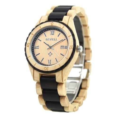 BEWELL 2017 Nueva lujo de la alta calidad de los hombres de cuarzo relojes de las mujeres de madera natural con clase del amante ocasional analógico reloj de pulsera de madera Calendario Masculino Feminio Relogio