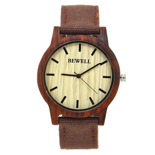 BeWell Novas moda quartzo Homens Mulheres de madeira relógios analógicos Nylon Strap Casual Madeira Relógio de pulso Masculino Feminio Relógio + Box