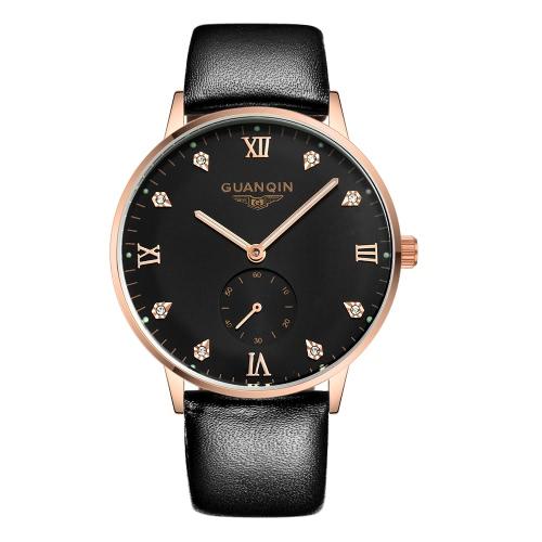 Resistente reloj mecánico automático de reloj de los hombres de negocios GUANQIN agua 3ATM con el segundo sub-dial reloj de pulsera Durable correa de reloj analógico
