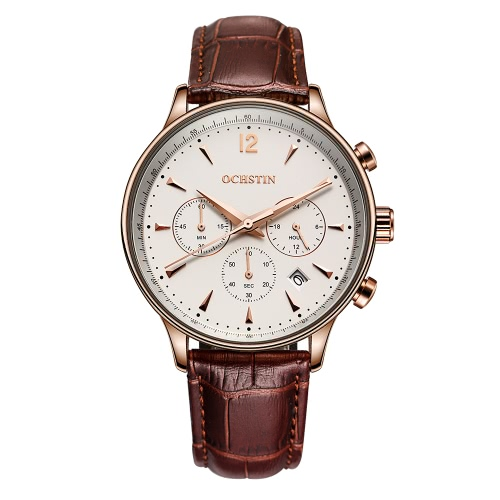 OCHSTIN Neue Luxus-Marken-echtes Leder-Mann-Geschäfts-Uhr-Quarz-Analog Water-Proof-Mans-Armbanduhr Chronograph Kalender + Box
