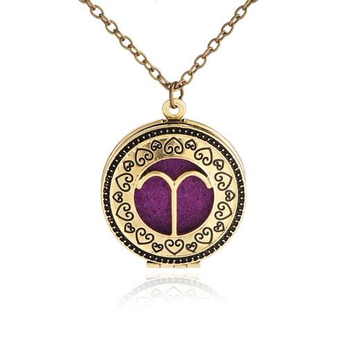 Collar colgante redondo de la muestra del zodiaco del difusor del aceite esencial del perfume