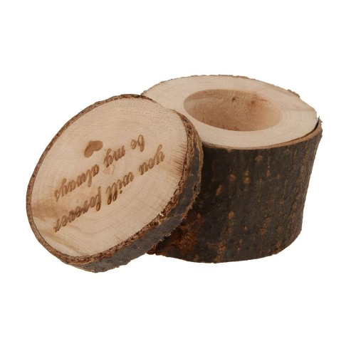 Vintage Wooden Printed Chic Rustic Wedding Ring Bearer Custom Engagement Dia dos Namorados Presentes Ceremony Rings Holder