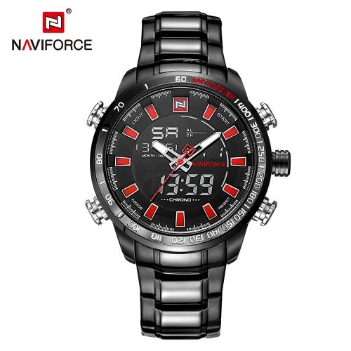 NAVIFORCE Luxo Dual Display Digital Quartz Men Relógio de aço inoxidável Relógio de relógio luminoso Cronógrafo Relógio de homem à prova d'água + Caixa de presente