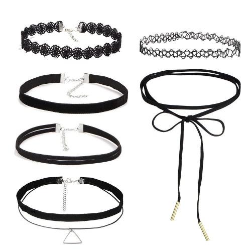 Reizvolle mehrschichtige schwarze Spitze-Samt-Choker-hängende Halsketten-moderne Charme-hohle Blumen-Frauen-Halsketten-Schmucksache-Dekoration