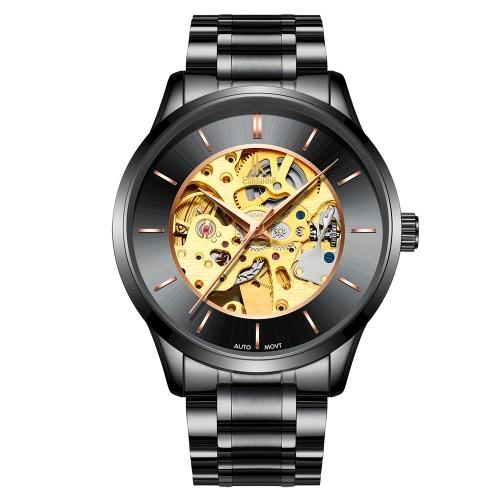 IK COLOURING Luxury Skeleton Automatic Mechanical Men Watch Stainless Steel Self-Wind Watch Man Business Wristwatch