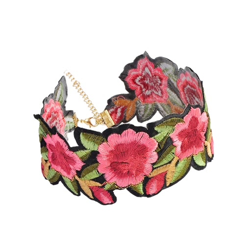 Moda Retro Handmade Embroidered Floral Choker Colar Sexy Bohemian Rose Flower Chain