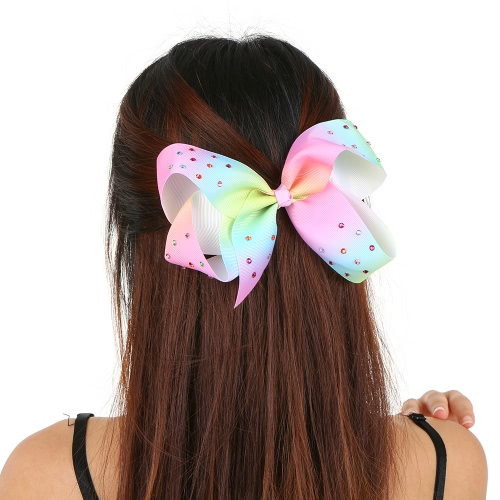 Europeu e americano Lady Beautiful Jewelry Colorido Bowknot Hairpin Rainbow Cloth com cristal