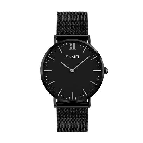 SKMEI 3ATM impermeável moda casual relogio relógio de quartzo amante relógio de aço inoxidável homens mulheres