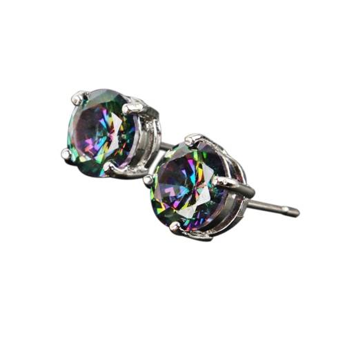 Okrągły Kształt Kolorowy Wielobarwny Kryształowy Diamentowy Kolczyki Kolczyki Kobiety Ucho Wielki Dekoracje