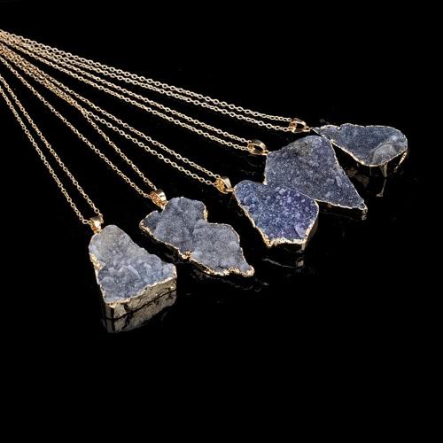 Natürliche Stein Kristall Anhänger Halskette Clavicle Kette Pullover Kette für Männer Frauen Schmuck Zubehör