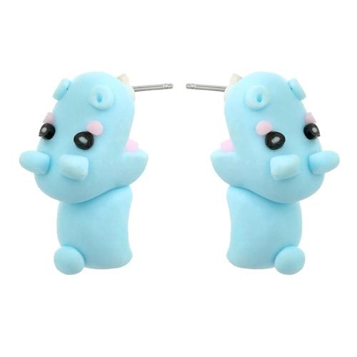 Moda Interessante Handmade Polymer Clay Animal Ear Studs Blue Cute Hippo Brincos Jóias Mulheres