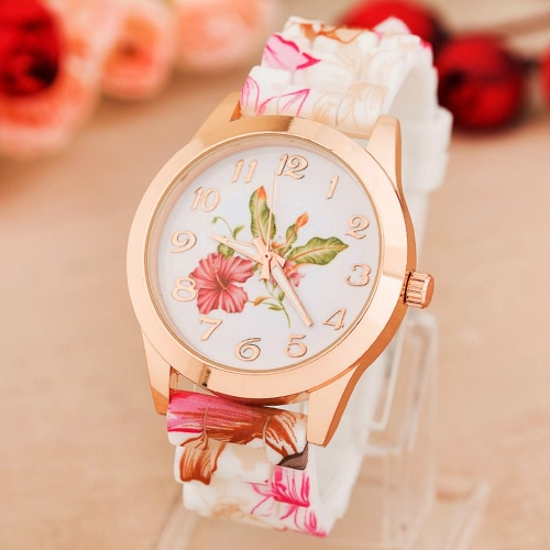 Fashion Luxury Rose Gold Quartz Women Watch Silicone Band Flower Pattern Ladies Casual Wristwatch