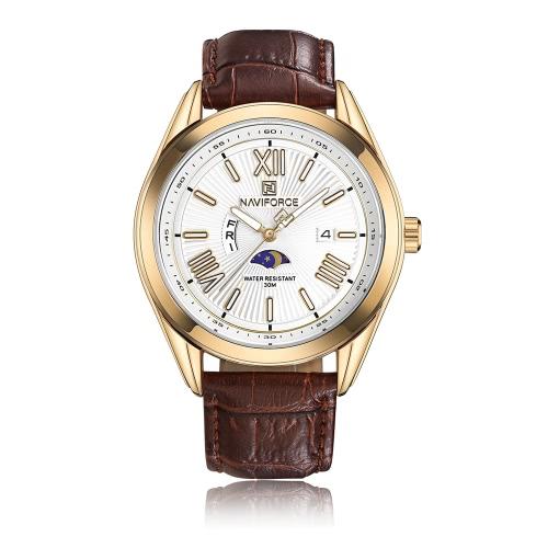 Reloj de lujo ocasional 3ATM del reloj de lujo de la manera de NAVIFORCE Reloj luminoso del cuarzo del reloj de cuero genuino del reloj del cuarzo