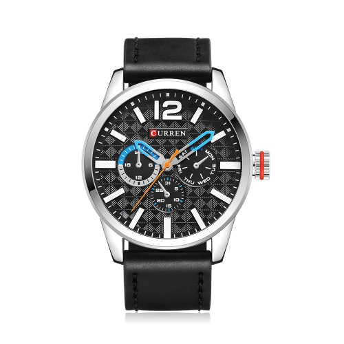 CURREN 2017 Luxus Sport Stil Wasserdicht Quarz Männer Uhr Pu-leder Band Chrono Cool Man Casual Armbanduhr