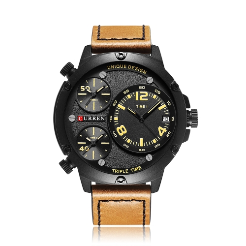 CURREN Cool Three Time Zone Quartz Men Watch