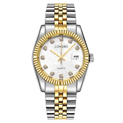 LONGBO Luxury Diamond Stainless Steel Casal Relógios Quartz Water-Proof Men Women Watch Diamond Fashion Lover's Watch + Box