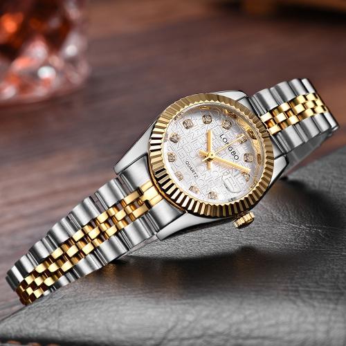 LONGBO Luxury Diamond Stainless Steel Couple's Watches Quartz Water-Proof Men Women Watch Diamond Fashion Lover's Watch + Box