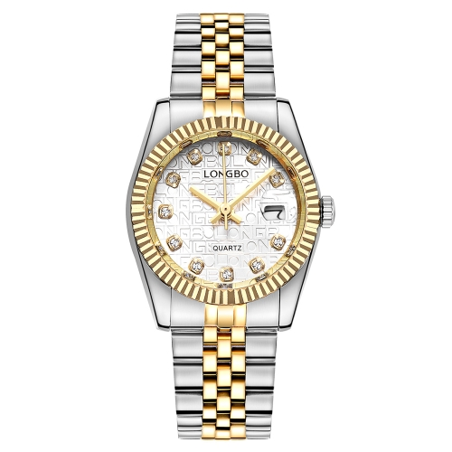 LONGBO Diamante de Lujo de Acero Inoxidable Relojes de Pareja de Cuarzo A Prueba de Agua Hombres Reloj de Las Mujeres Reloj de Diamantes de La Manera Del Amante + Caja